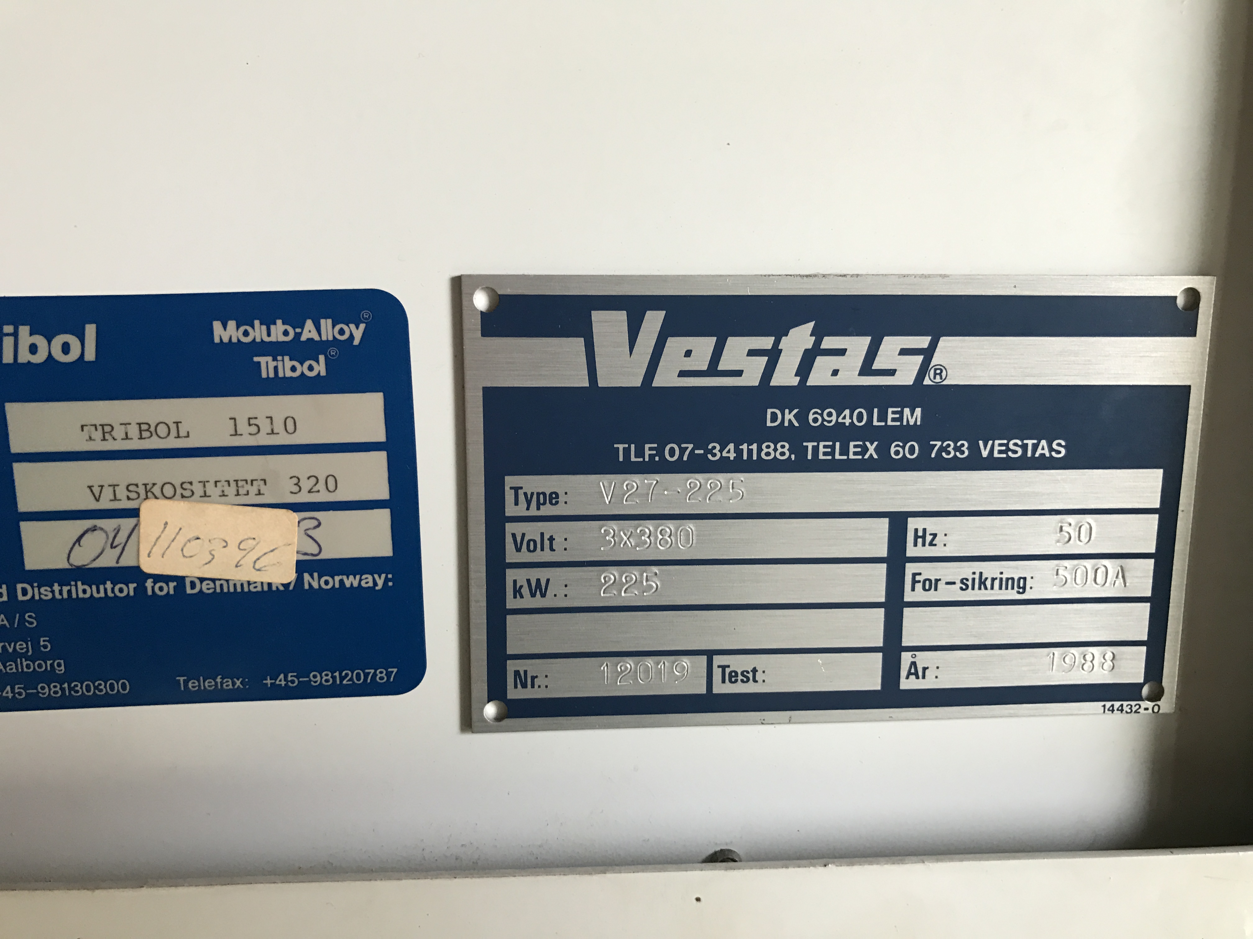 2 X VESTAS V 25 available to purchase 01/2017 on wind